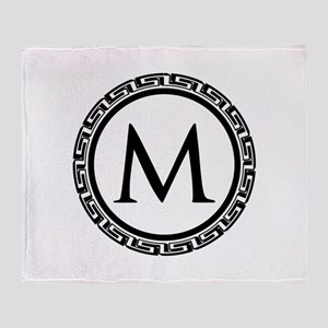 Greek Key Black and White Monogram Throw Blanket