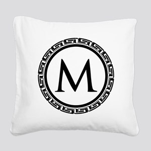 Greek Key Black and White Mon Square Canvas Pillow