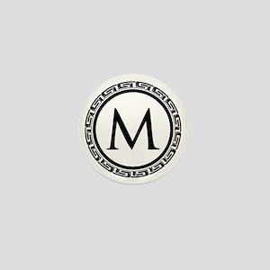 Greek Key Black and White Monogram Mini Button