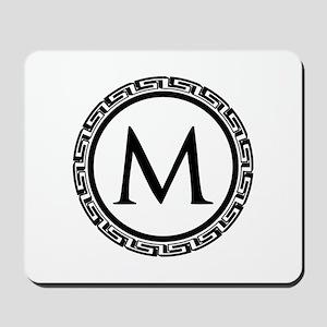 Greek Key Black and White Monogram Mousepad