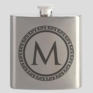 Greek Key Black and White Monogram Flask