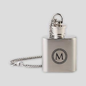 Greek Key Black and White Monogram Flask Necklace