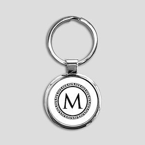 Greek Key Black and White Monogram Round Keychain