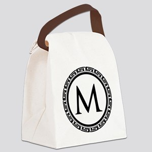 Greek Key Black and White Monogra Canvas Lunch Bag
