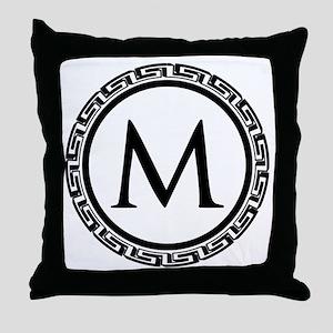 Greek Key Black and White Monogram Throw Pillow