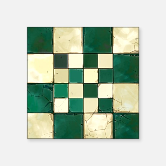 """Cracked Tiles - Green Square Sticker 3"""" x 3"""""""