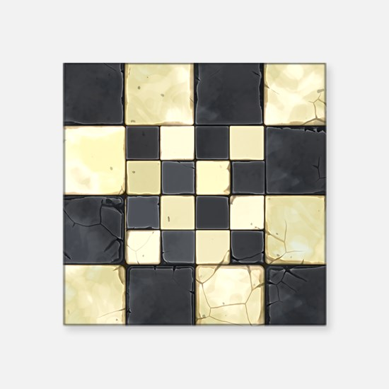 """Cracked Tiles - Grey Square Sticker 3"""" x 3"""""""