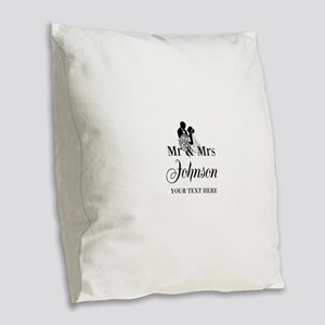 Personalized Mr and Mrs Burlap Throw Pillow