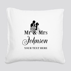Personalized Mr and Mrs Square Canvas Pillow