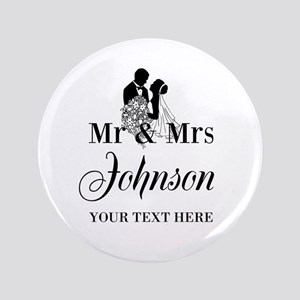 "Personalized Mr and Mrs 3.5"" Button"