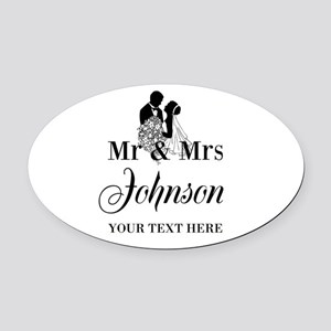 Personalized Mr and Mrs Oval Car Magnet