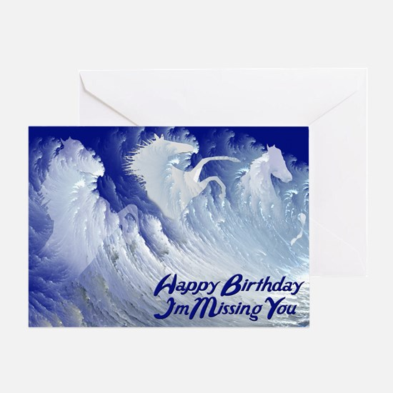 Missing you, wild white surf horses birthday card