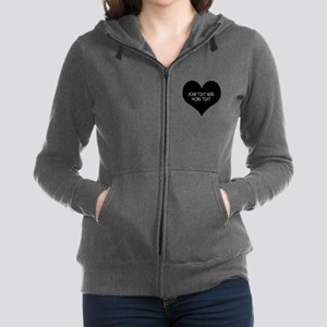 Black heart Women's Zip Hoodie