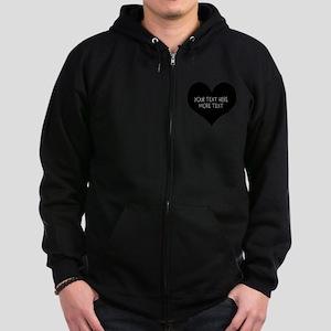 Black heart Zip Hoodie