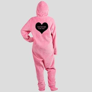 Black heart Footed Pajamas