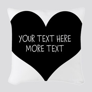 Black heart Woven Throw Pillow