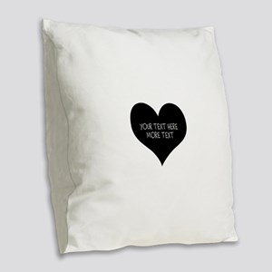 Black heart Burlap Throw Pillow