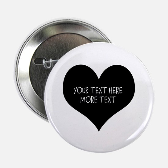 """Black Heart 2.25"""" Button For Wedding Party"""