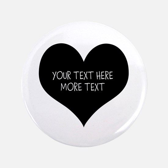 """Black Heart 3.5"""" Button For Bride And Groom"""