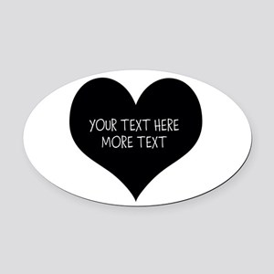 Black heart Oval Car Magnet