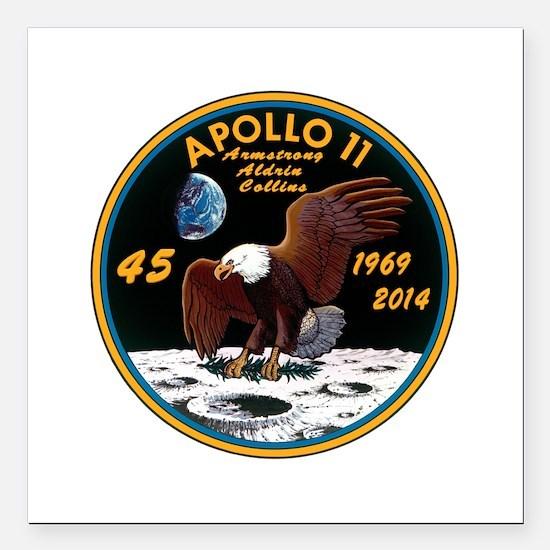 """Apollo 11 45th Anniversa Square Car Magnet 3"""" x 3"""""""