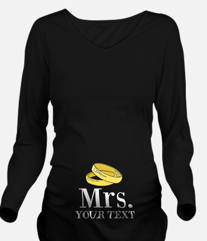 Mr and Mrs gold wedding rings Long Sleeve Maternit