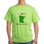 I Love Minnesota Green T-Shirt
