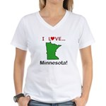 I Love Minnesota Women's V-Neck T-Shirt