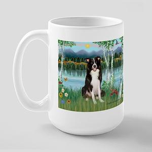 Birches / Border Collie Large Mug