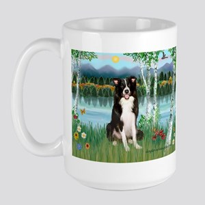 Birches / Border Collie Large Mug