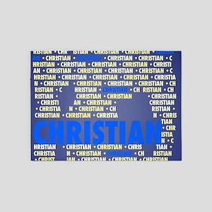 Made of words name CHRISTIAN 5'x7'Area Rug