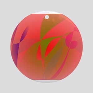 Salmon Pink and Green Tea Ornament (Round)