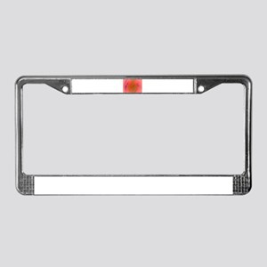 Salmon Pink and Green Tea License Plate Frame