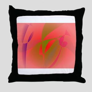 Salmon Pink and Green Tea Throw Pillow