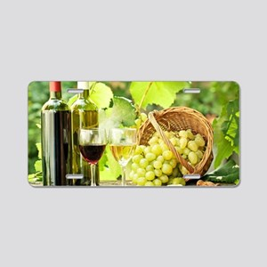 Wine and Grapes Aluminum License Plate