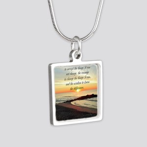SERENITY PRAYER Silver Square Necklace