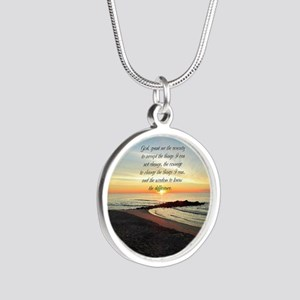 SERENITY PRAYER Silver Round Necklace