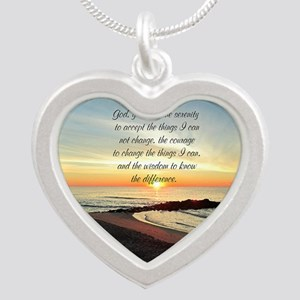 SERENITY PRAYER Silver Heart Necklace