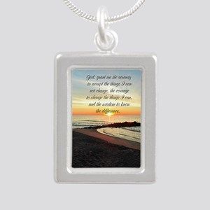 SERENITY PRAYER Silver Portrait Necklace