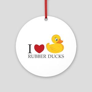 Love Rubber Ducks Ornament (Round)