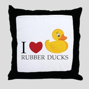 Love Rubber Ducks Throw Pillow