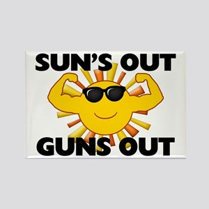 Sun's Out Guns Out Rectangle Magnet