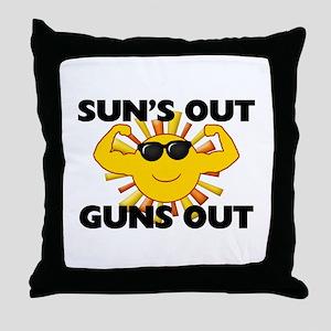 Sun's Out Guns Out Throw Pillow