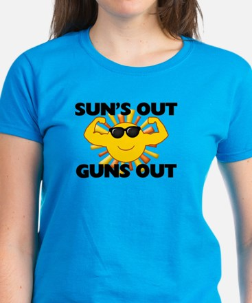 Sun's Out Guns Out Women's Dark T-Shirt