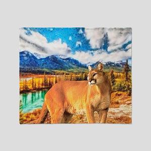 River Cougar Throw Blanket