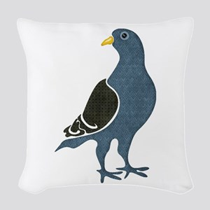 Fashionista Pigeon copy Woven Throw Pillow