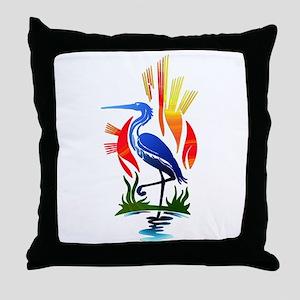 Blue Heron Sun and Marsh Throw Pillow