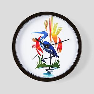 Blue Heron Sun and Marsh Wall Clock