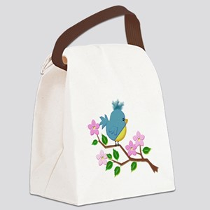 Bird on Tree Limb with Spring Flowers Canvas Lunch