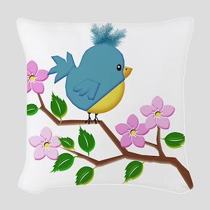 Bird on Tree Limb with Spring Flowers Woven Throw